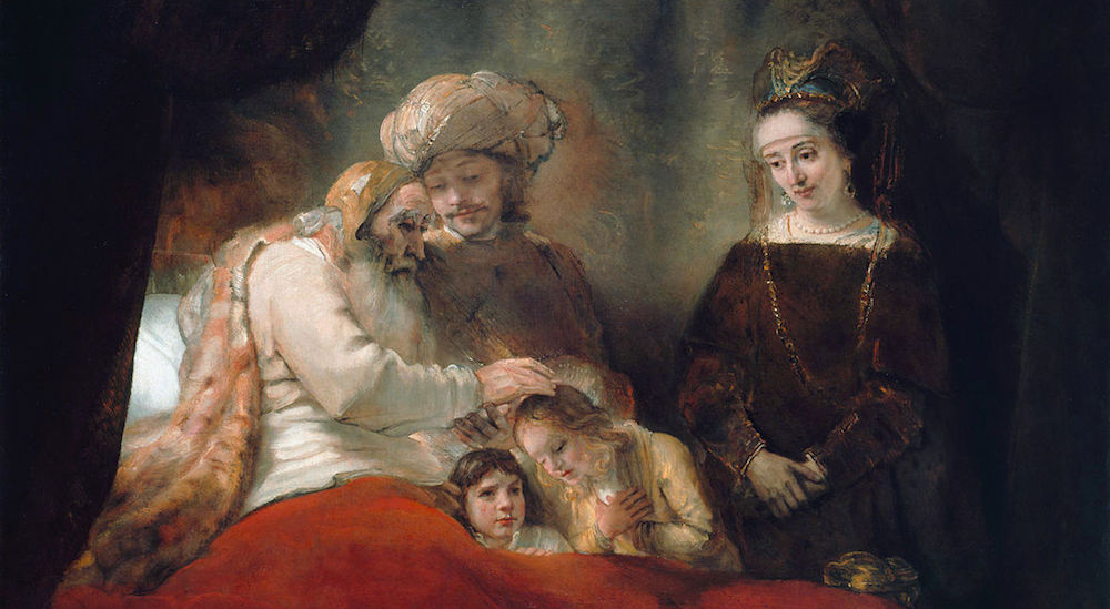 This painting by Rembrandt shows the elderly Jacob blessing Ephraim and Manasseh, the children of Joseph and Asenath, who surround Jacob's bed.