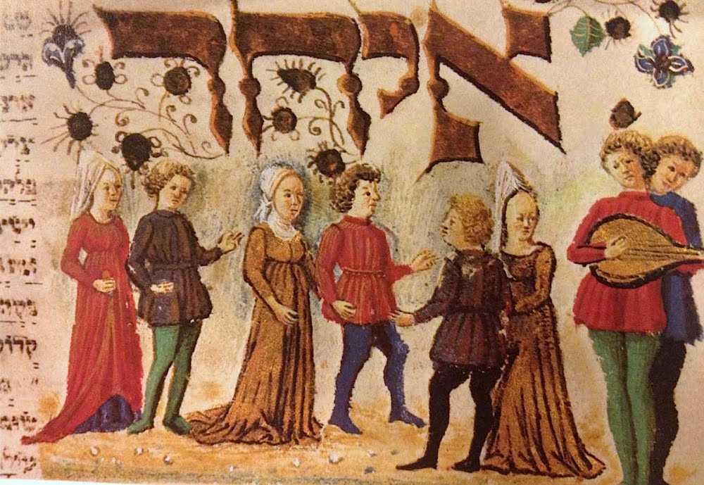 This illustration from the 15th century shows a lute player and singer on the right who accompany Jewish couples as they dance.
