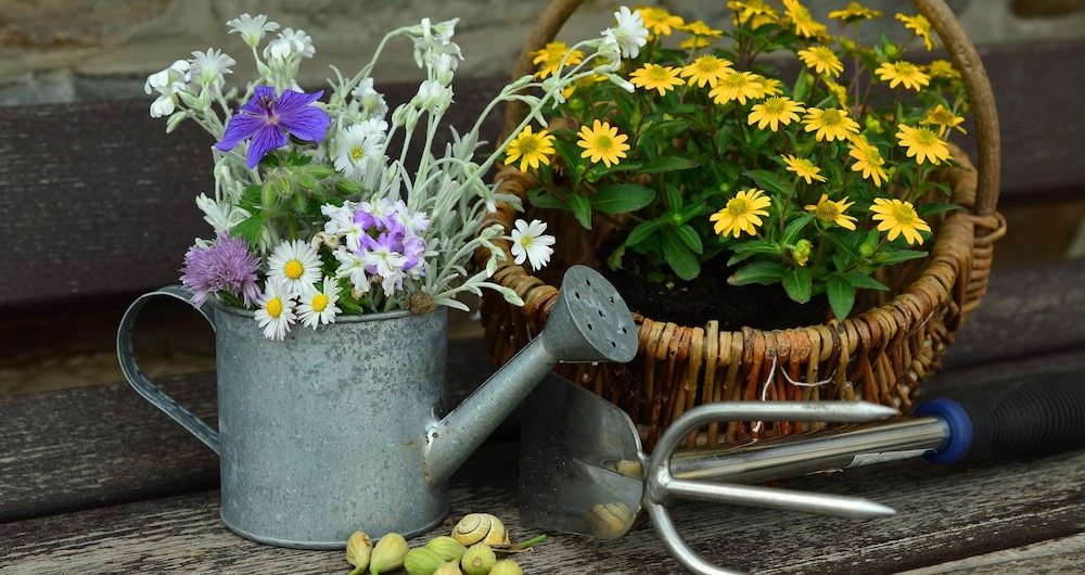 This scene includes a common gardening tool, a watering can filled with cut flowers and a basket containing a flowering plant.