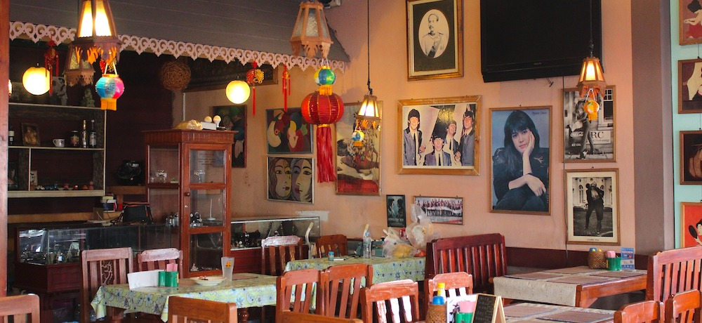 A cafe is filled with interesting memorabilia.