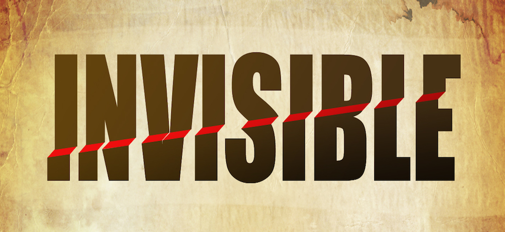 "Textured backdrop with the word, ""invisible"", in large brown letters and with an implied red ramp running up the middle."