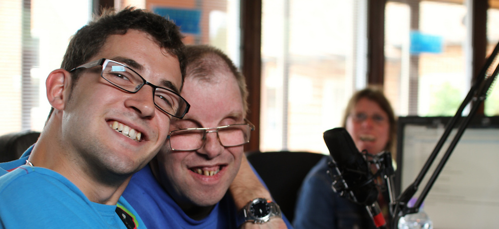 Two radio broadcasters with learning disabilities.