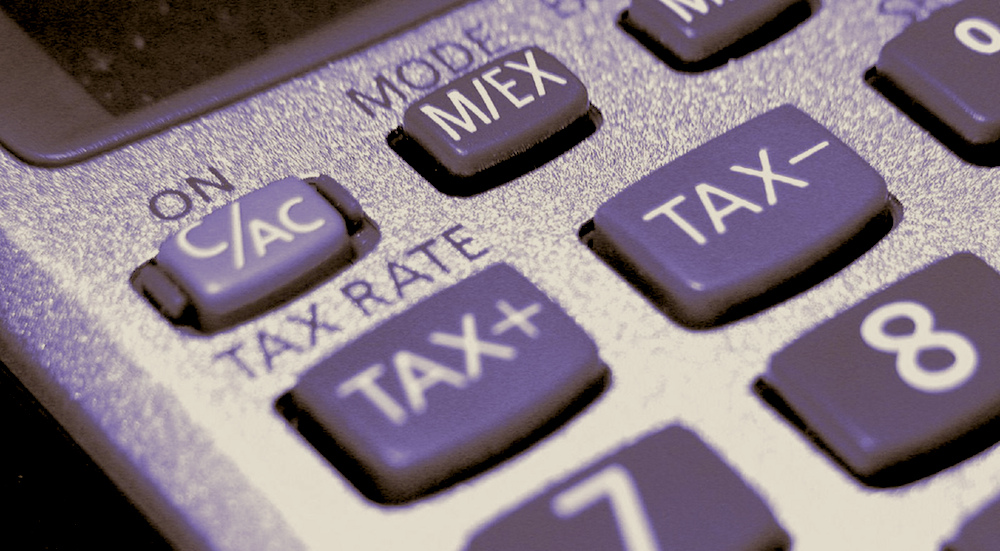 Close up of a tax calculator.
