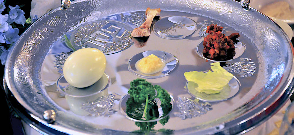 During the Passover Seder, a sterling silver Seder plate is used to arrange six items which retell the story of the exodus from Egypt. Traditionally, this is the focus of the ritual meal.