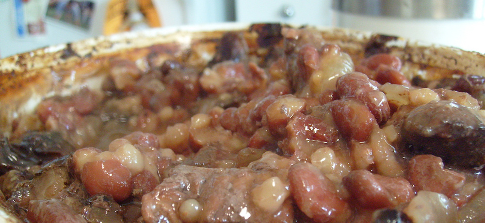 This slowly cooked cholent is made with beef, beans and barley.