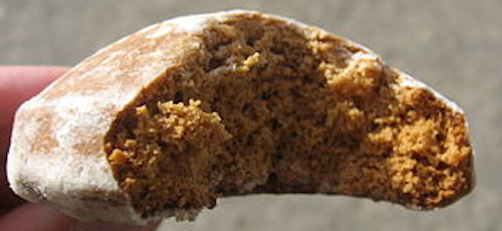 A delicious honey cookie with a big bite taken from it.