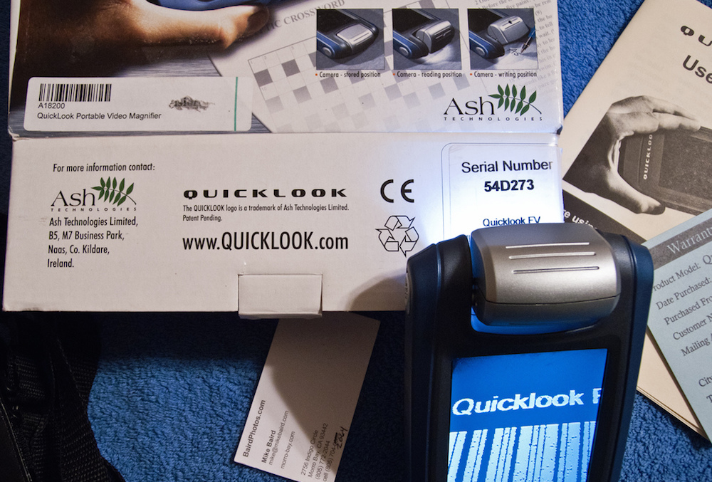 QuickLook basic portable video magnifier.