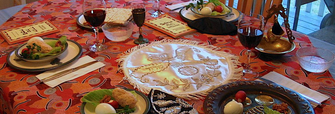 A Passover Seder table setting.